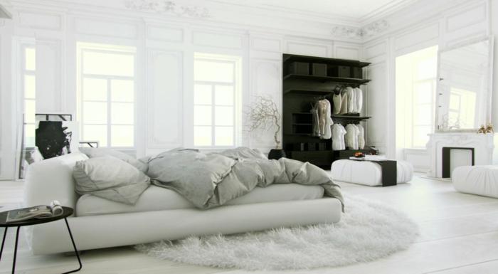 wandfarbe weiß wohnideen schlafzimmer runder teppich schwarzer kleiderschrank offen