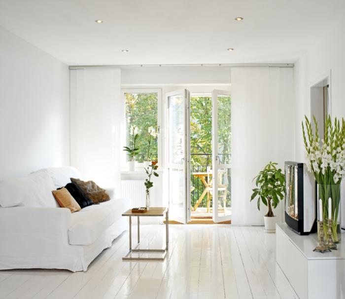 wandfarbe weiß wohnideen wohnzimmer kleines wohnzimmer pflanzen