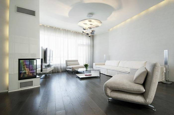 wandfarbe weiß wohnideen wohnzimmer led beleuchtung eckkamin