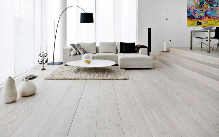 wandfarbe weiß wohnzimmer einrichtungsideen holzboden bodenvasen