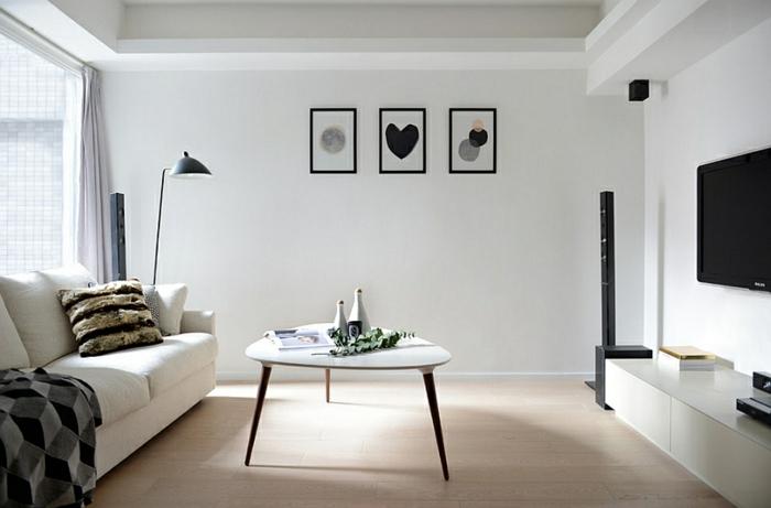 Einrichtungsideen Wohnzimmer Skandinavisch : wandfarbe weiß ...