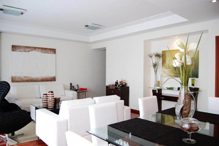 wandfarbe weiß wohnzimmer esszimmer pflanzen