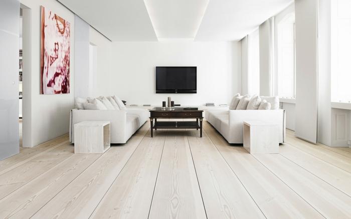 wandfarbe weiß wohnzimmer holzboden beistelltische holz