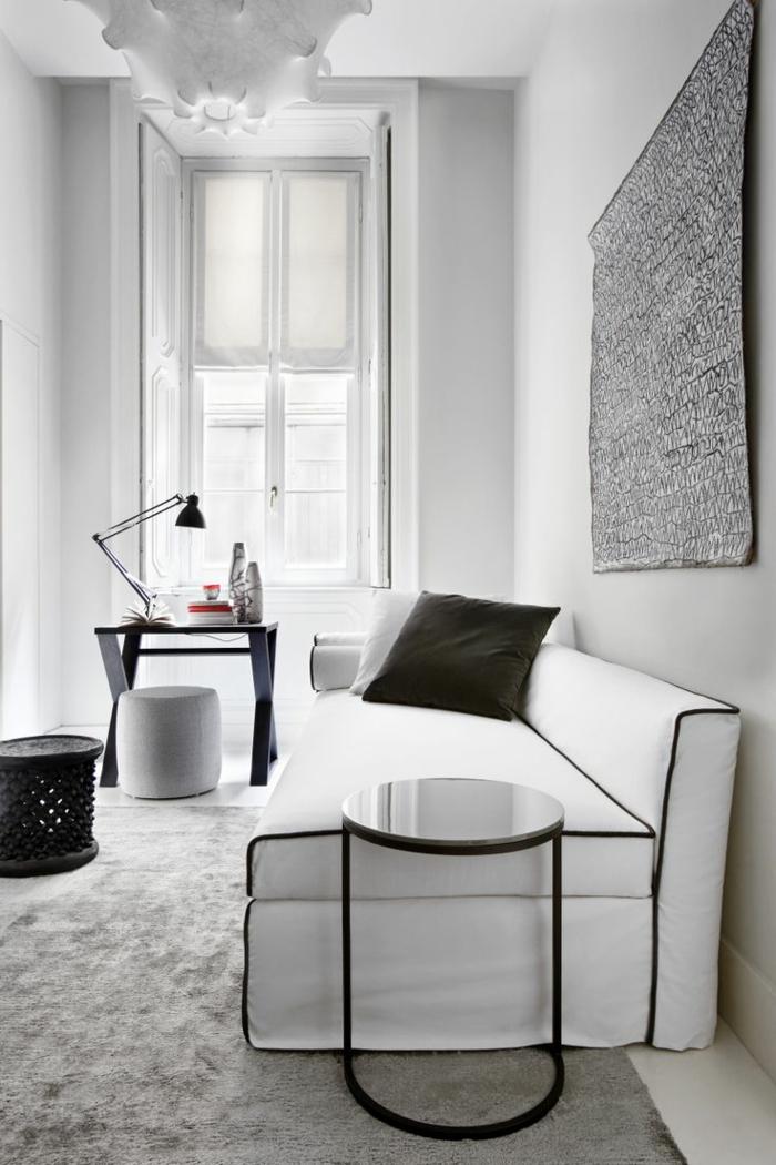 wandfarbe weiß wohnzimmer ideen hellgrauer teppich