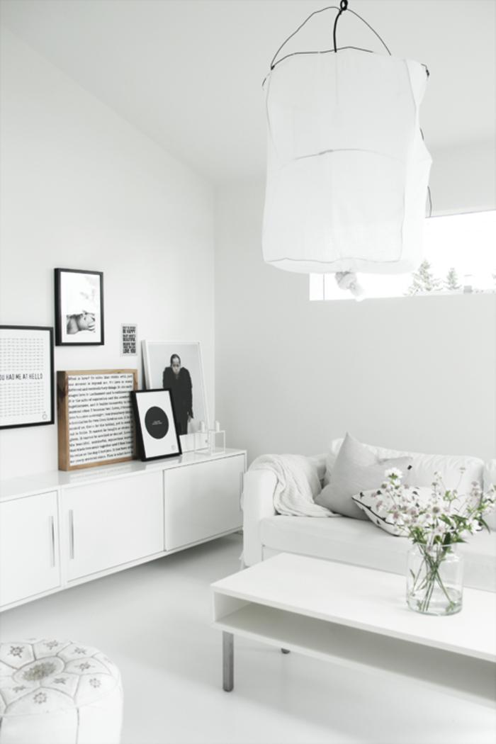 wandfarbe weiß wohnzimmer ideen pflanzen fenster