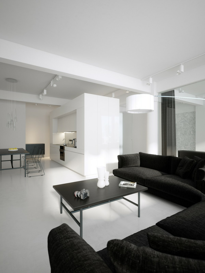 wandfarbe weiß wohnzimmer ideen schwarzes sofa