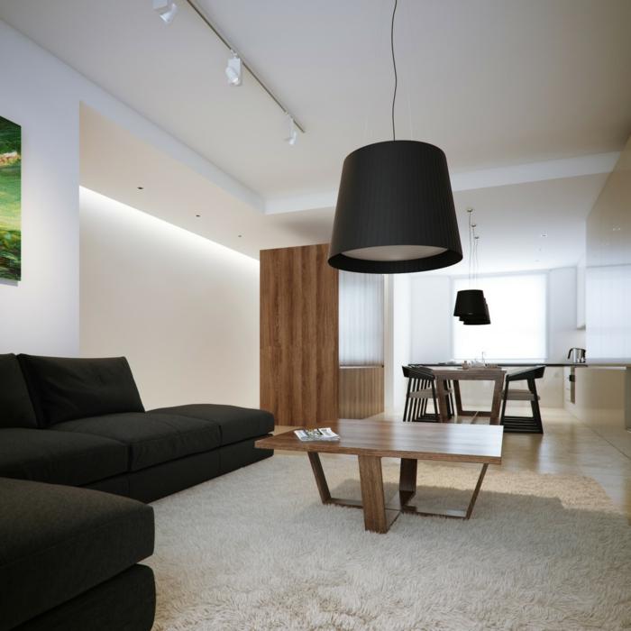 weiße wandfarbe wohnzimmer schwarzes ecksofa weißer teppichboden