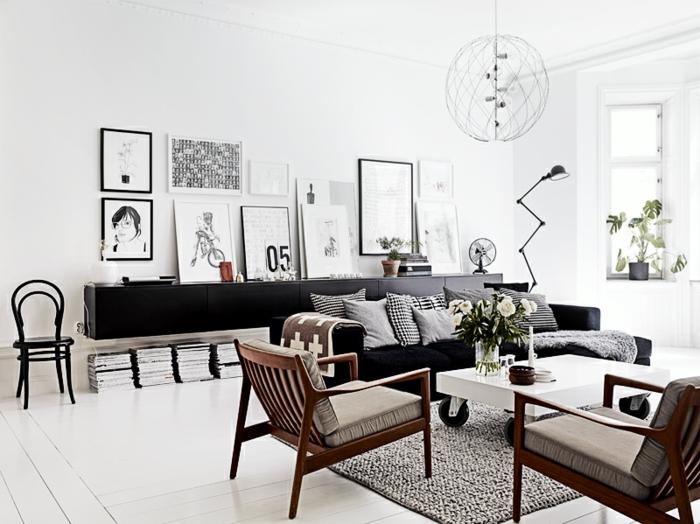 wandfarbe weiß wohnzimmer skandinavisch einrichten schwarze akzente