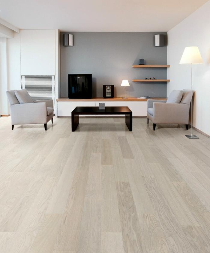 weiße wandfarbe wohnideen wohnzimmer wandregale graue akzentwand