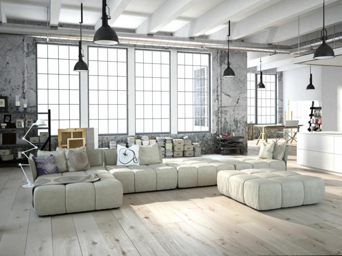 wandfarbe weiß wandgestaltung loft wohnung industriestil hängeleuchten sofa groß holzdielen betonoptik wände