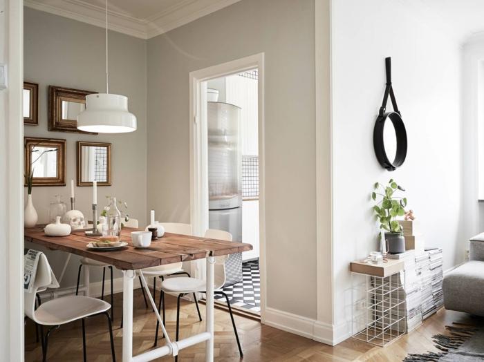 Wandfarbe Weiss Wandgestaltung Esszimmer Wohnzimmer Esstisch Holz Pendelleuchte Metall