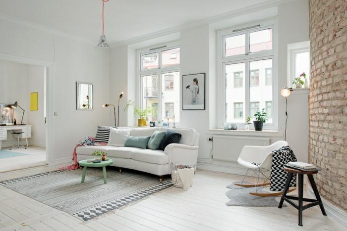 wandfarbe weiss wandgestaltung wohnzimmer backsteine ziegelwand skandinavischereinrichtungsstil
