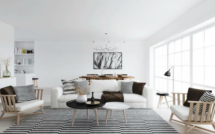 wandfarbe weiß wandgestaltung wohnzimmer essbereich foto schwarz weiß teppich kissen streifen