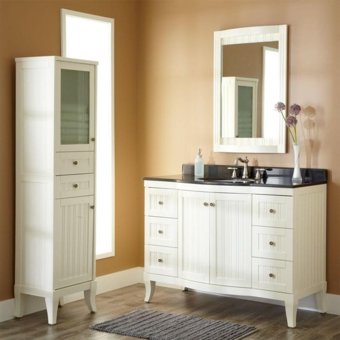 wandfarben 2016 trendfarbe goldocker pastell farbtöne badezimmer vintage armatur schränke vitrine