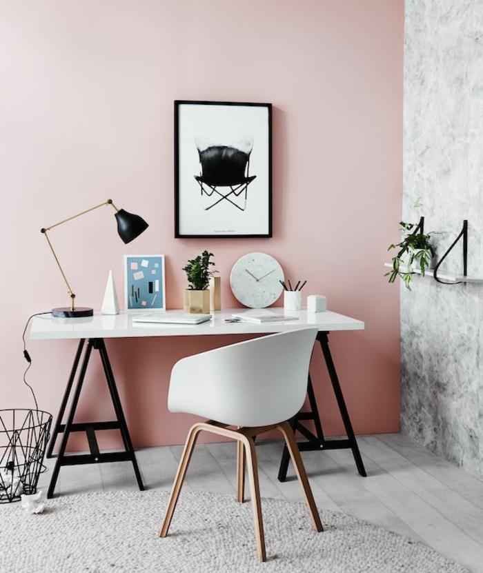 wandfarben trendfarben arbeitszimmer wohnzimmer trendfarbe hellrosa hellgrau farbkombination