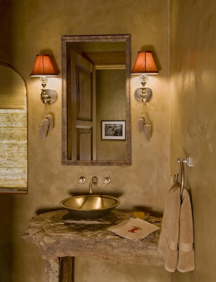 wandfarben 2016 trendfarben badezimmer wandfarbe goldocker wandspiegel wandlampen wanddekoration wandgestaltung