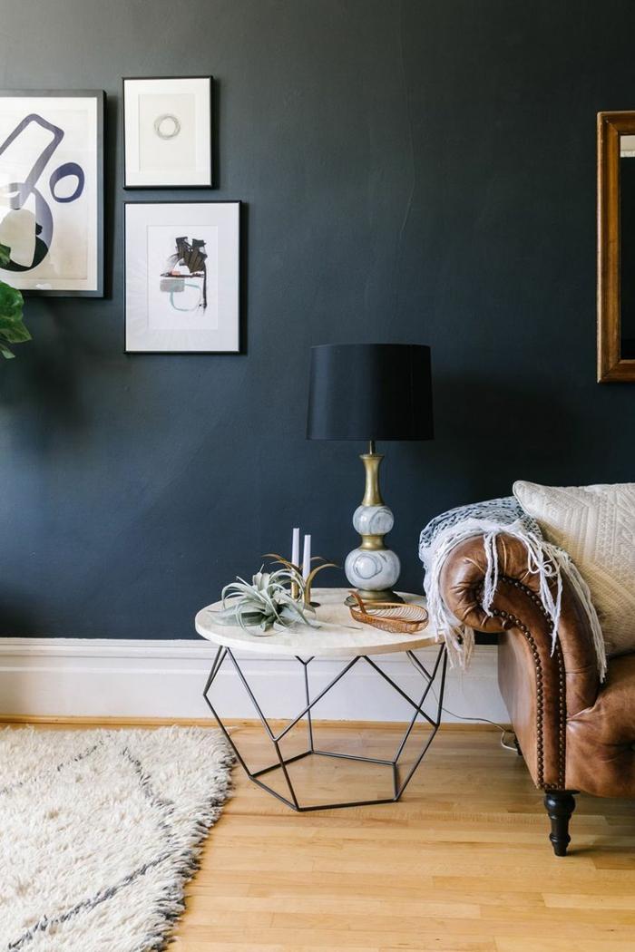 wandfarben 2016 trendfarben dunkelgrau graphit wohnzimmer ledersofa beistelltisch rund hochflorteppi h
