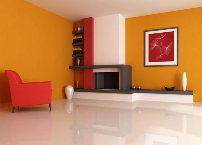 wandfarben 2016 trendfarben goldocker rot weiß dekokamin wandgestaltung wanddekoration