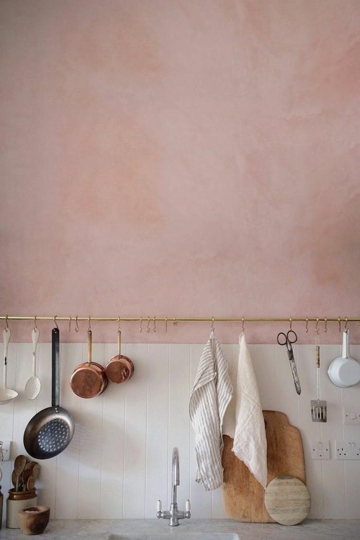 wandfarben 2016 trendfarben küche rosa lachsfarbene wand farbtendenzen