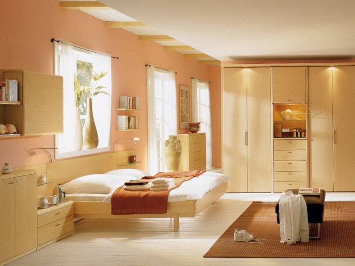 wandfarbe 2016 trendfarben nude pastell wanddekoration wandgestaltung schlafzimmer helles holz möbel