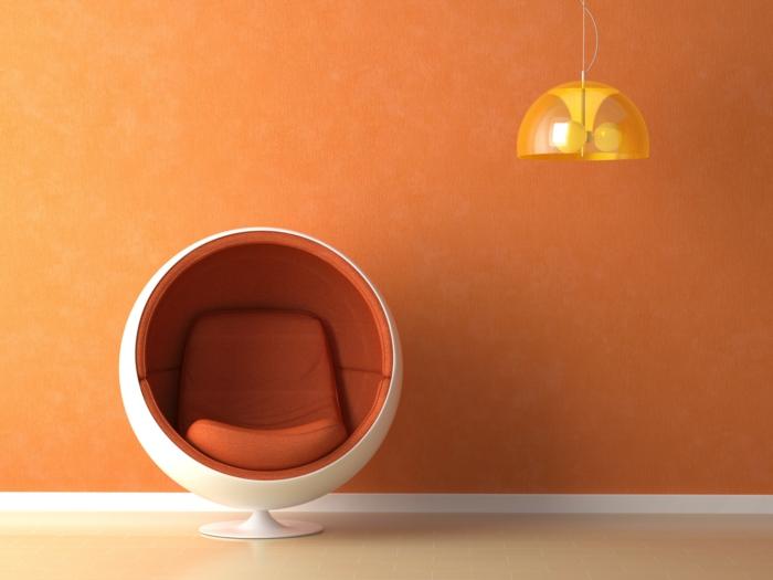 wandfarbe 2016 trendfarben ocker orange farbgestaltung gelbe pendelleuchte