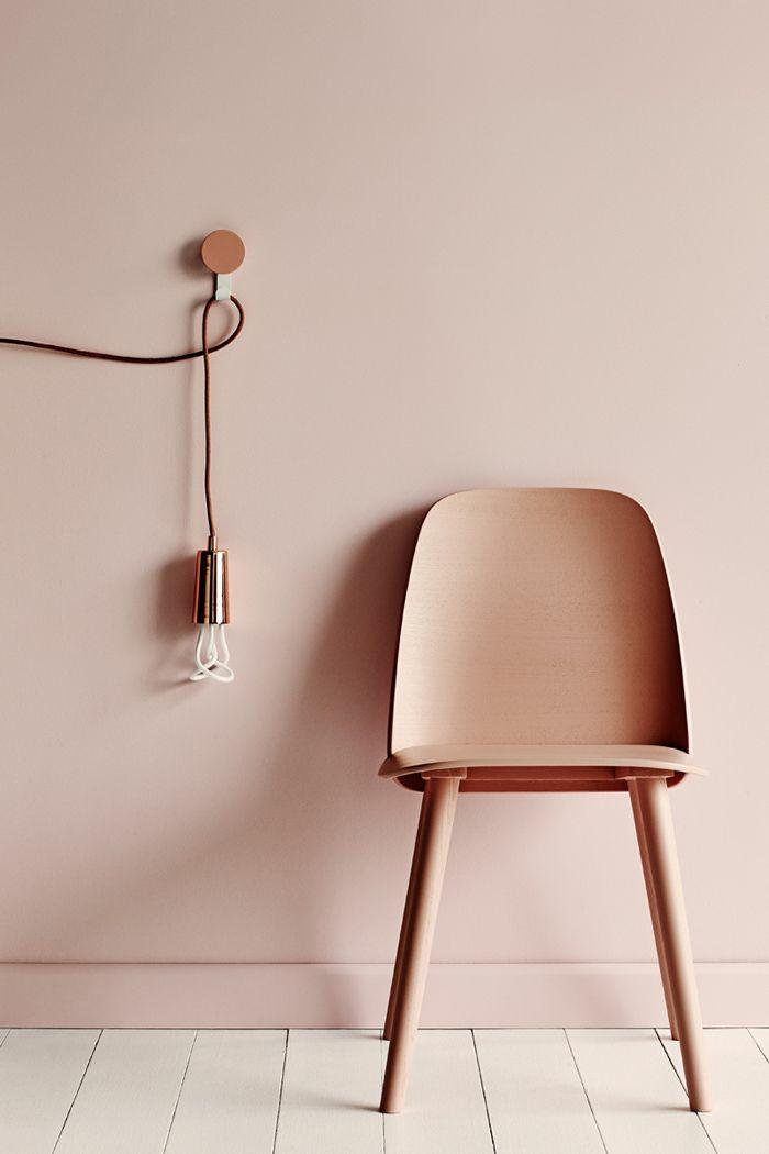 Hochwertig Wandfarben 2016 Trendfarben Pastellrosa Wanddeko Wandgestaltung  Pendelleuchte Stuhl Holz