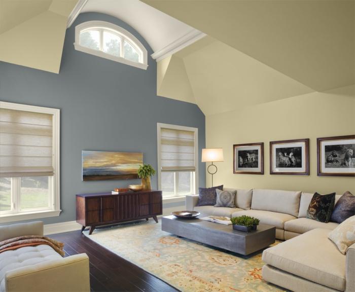 wandfarbe 2016 trendfarben pastelltne blau gelb creme wohnzimmer - Wandfarbe Creme Rot