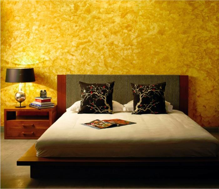 wandfarben 2016 trendfarben schlafzimmer goldglanz wandgestaltung wanddekoration trendfarbe