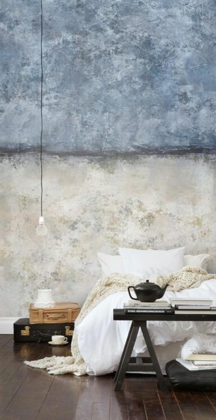wandfarbe 2016 trendfarben schlafzimmer grau betonoptik puristisch
