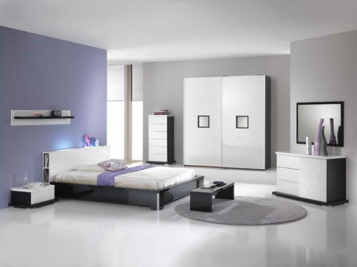 wandfarben 2016 trendfarben schlafzimmer lila grau weiß farbkombination wandgestalung wanddeko
