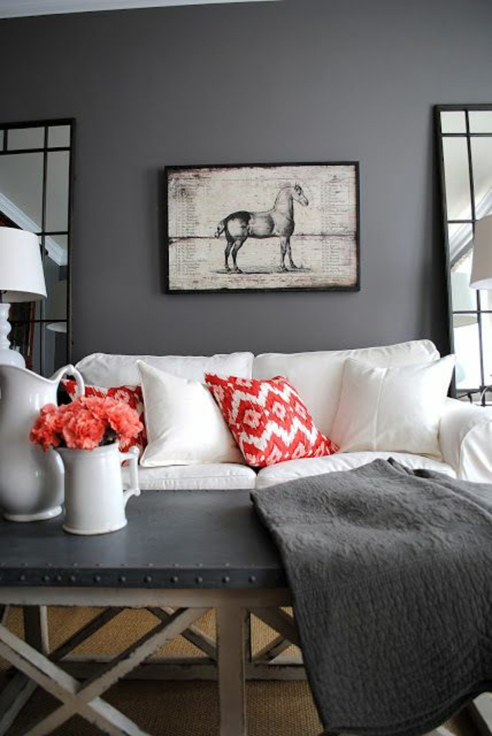Trendfarben Wandgestaltung Wanddekorration Wandfarbe Grau Anthrazit