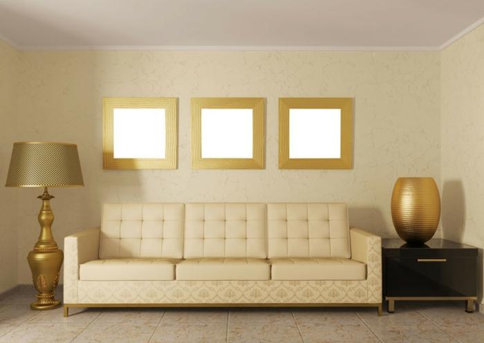 Wandf2016 Trendfarben Wohnzimmer Goldglanz Goldakzente Stehlampe Sofa  Pastellgelb Wanddekoration Wandfarben ...