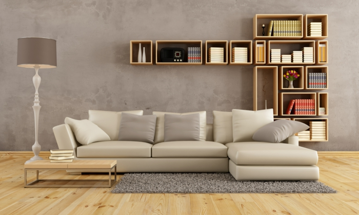 2016 Trendfarben Wohnzimmer Hellgrau Betonoptik Helles Holz Wandregale Parkett Weisses Sofa Beistelltisch Lampion