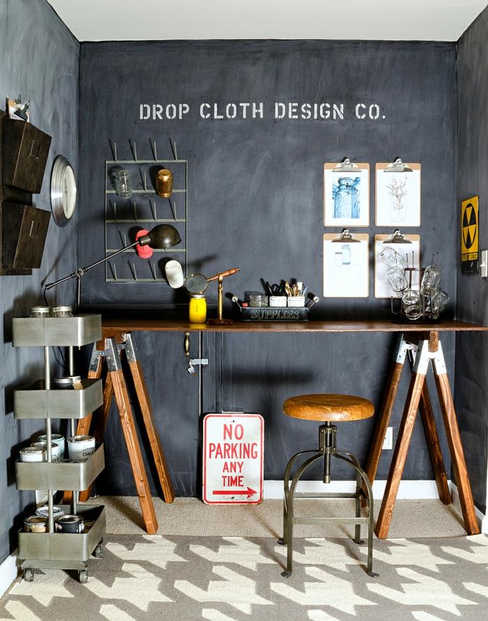 raumgestaltung-kreidetafel-diy-deko-ideen-wandtafel wandgestaltung wandtafel pinwand wohnideen ornungssystem designer ordnung