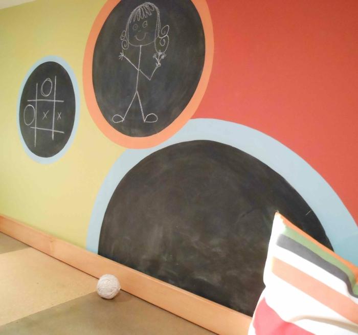 raumgestaltung kreidetafel diy deko ideen wandtafel wandgestaltung wandtafel pinwand wohnideen ornungssystem wandmalerei kreise