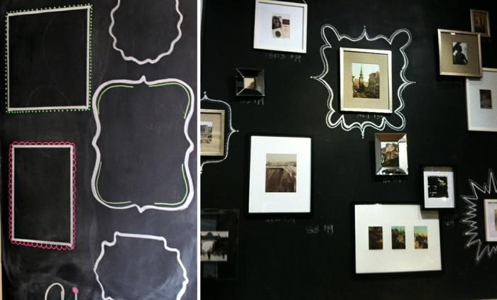raumgestaltung kreidetafel diy deko ideen wandtafel wandgestaltung wandtafel pinwand wohnideen ornungssystem wandmalerei rahmen gezeichnet