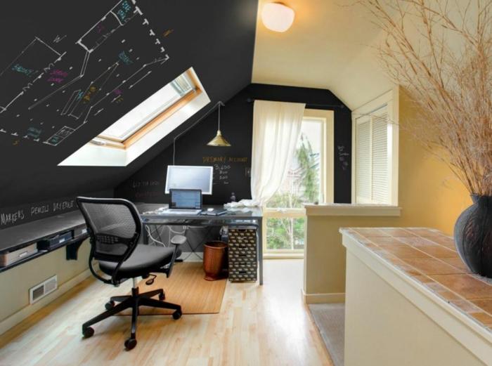 raumgestaltung kreidetafel diy deko ideen wandtafel wandgestaltung wandtafel pinwand wohnideen ornungssystem wandmalerei schräge wand