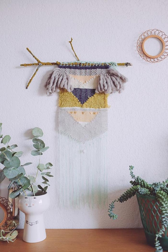 wandideen wanddeko string art wandgestaltung diy idee makramee wolle geflochten