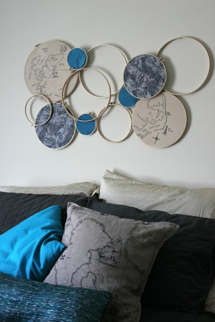 wandideen wanddeko string art wandgestaltung diy ideen stickarbeiten rund wanddekoration