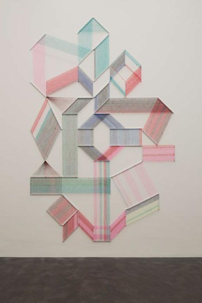 wandideen wanddeko string art wandgestaltung geometrische figuren diy ideen