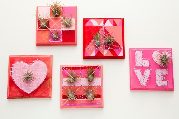 wandideen wanddeko string art wandgestaltung herzen valentinstag