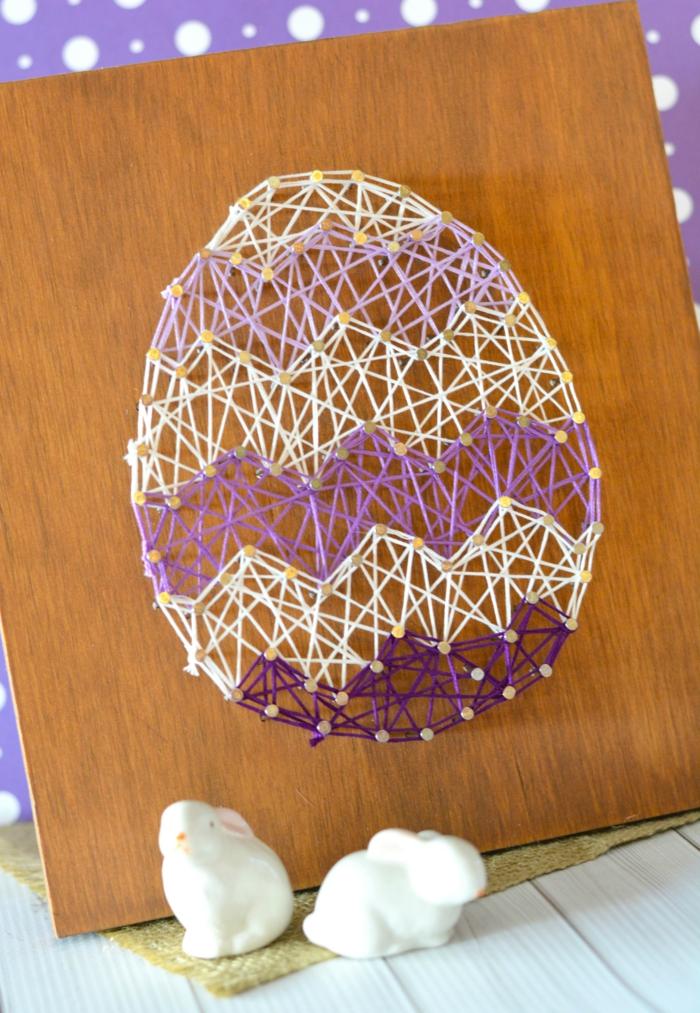 wandideen wanddeko string art wandgestaltung osterdeko ei weiß lila