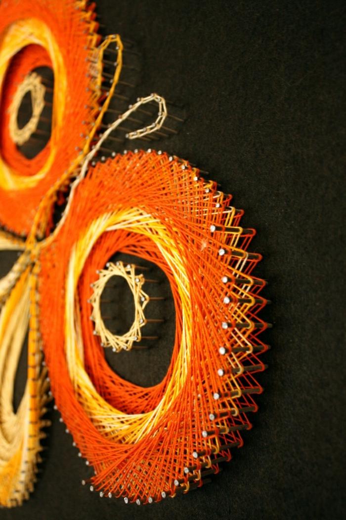 wanddeko string art wandgestaltung selber machen schmetterling wanddekoration garn