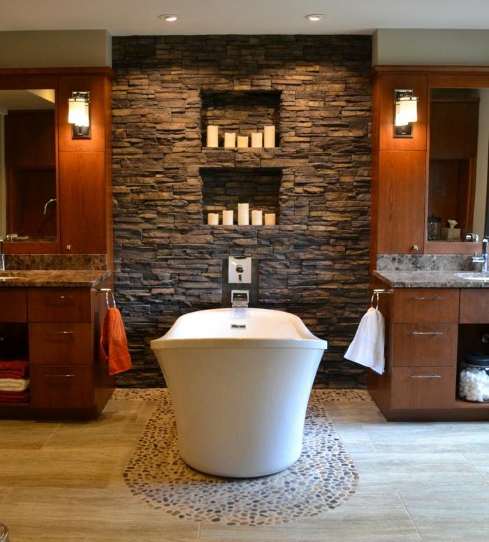 Wandpaneel Steinoptik Badezimmer Wandgestaltung Mosaikfliesen Badewanne