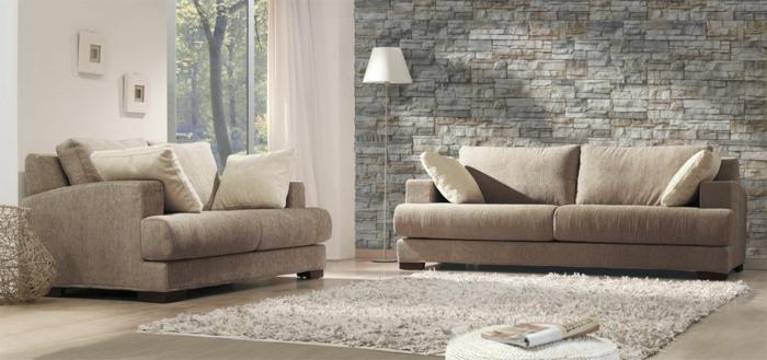 Farbige Waende Wohnzimmer Beige Wandpaneele Steinoptik Stellen Eine Schicke  Möglichkeit
