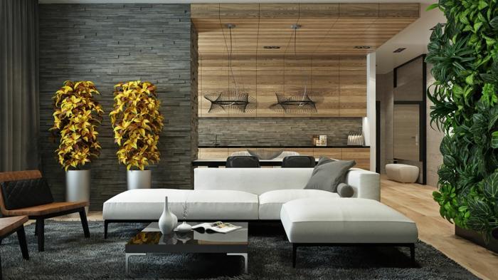 wandpaneel steinoptik wohnzimmer ecksofa pflanzen