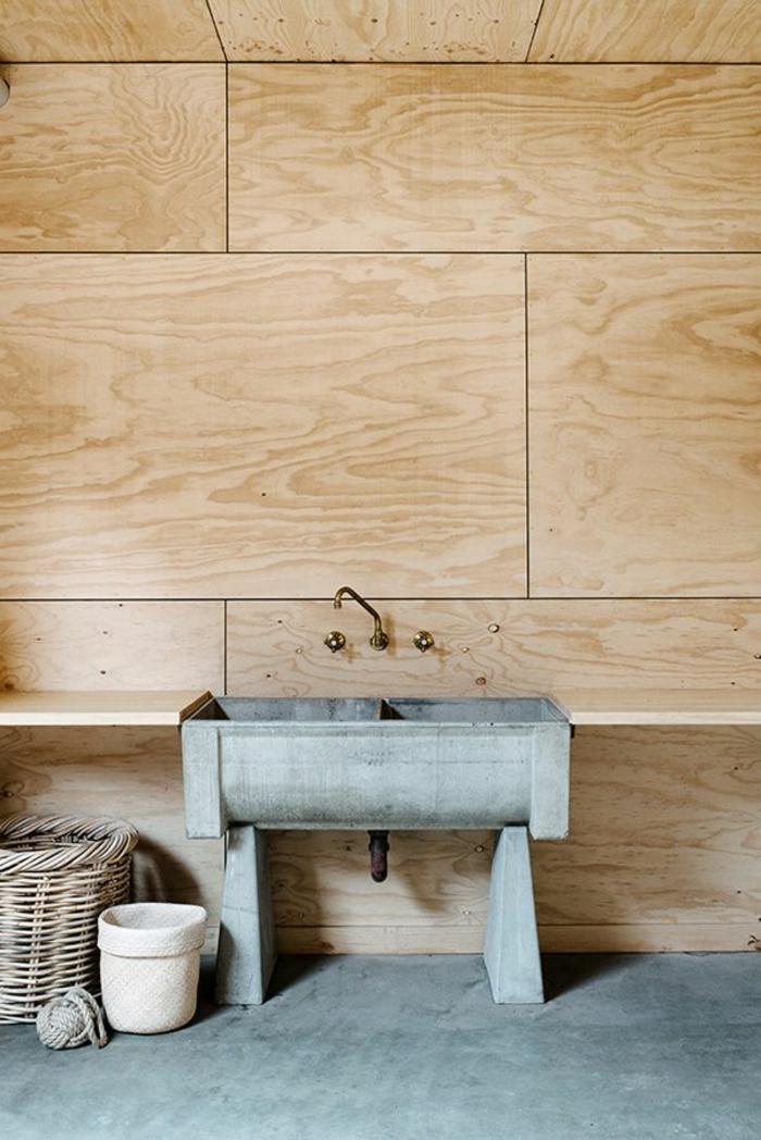 wandpaneele holz badezimmer waschbecken aufbewahrungskorb