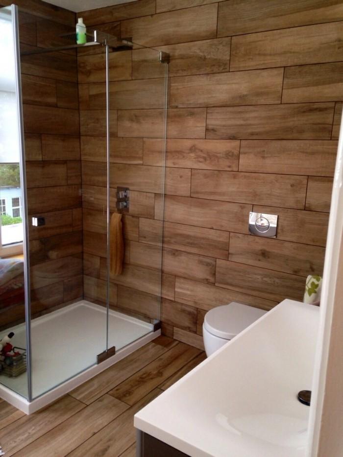 wandpaneele holz optik im modernen badezimmer