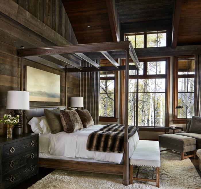wandpaneele holz schlafzimmer rustiklaer look teppich betthimmel