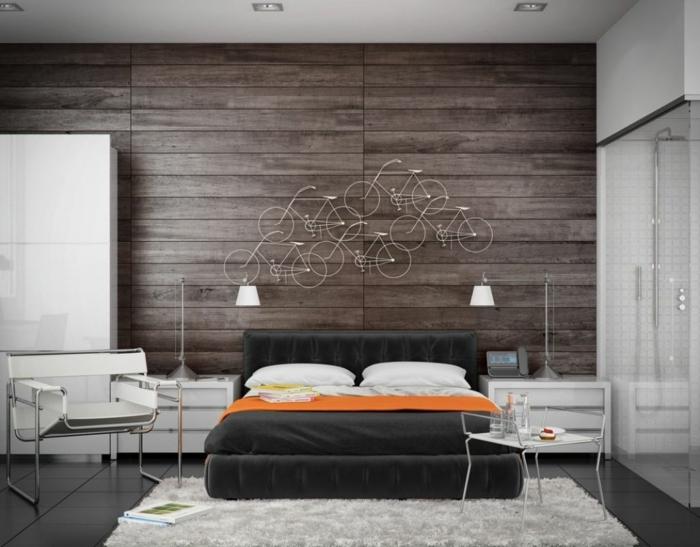 wandpaneele holz schlafzimmer wanddeko teppich weißer kleiderschrank
